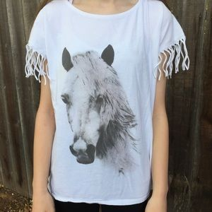 Fringe horse top cotton cute comfy